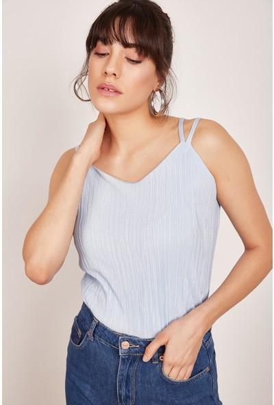 Lafaba Kadın Bebe Mavi Askılı Pliseli Bluz