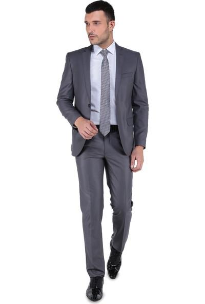 Buenza 8 Drop Slim Fit Takım Elbise-Koyu Gri