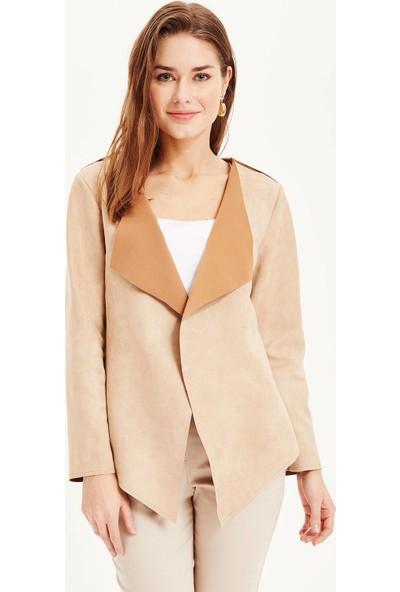 Defacto Kadın Yaka Detaylı Asimetrik Kesim Ceket