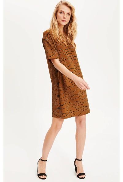 Defacto Kadın Yanları Düğmeli Elbise