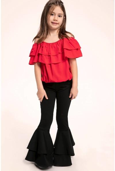 Defacto Kız Çocuk 23 Nisan Volanlı Pantolon