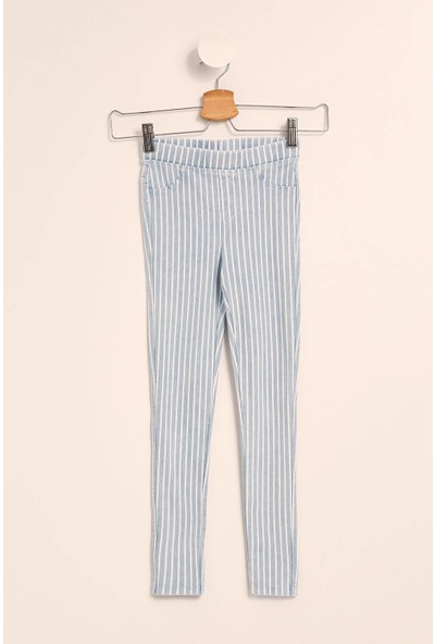 Defacto Kız Çocuk Elastik Belli Slim Fit Çizgili Pantolon