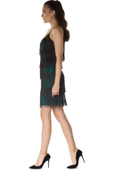 6ixty8ight Yeşil Püsküllü Kısa Abiye Elbise