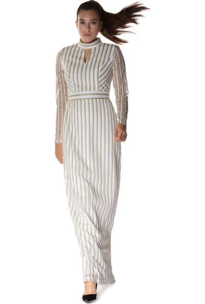 Carmen Ekru Hakim Yaka Uzun Abiye Elbise