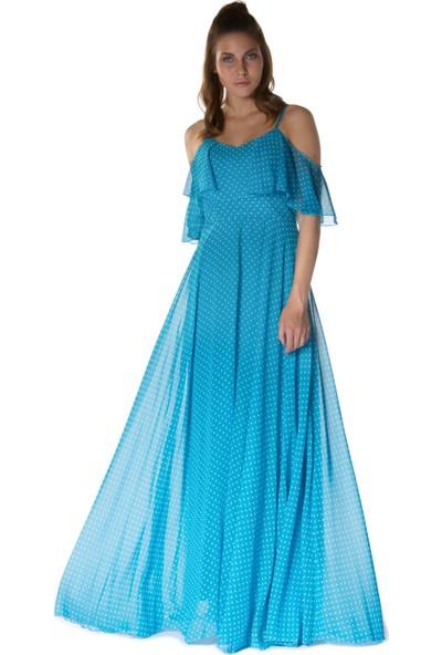 6ixty8ight Puantiye Mavi Askılı Uzun Abiye Elbise