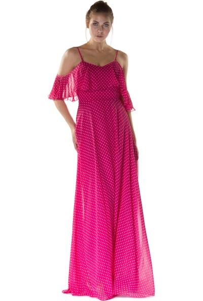 6ixty8ight Puantiye Fuşya Askılı Uzun Abiye Elbise