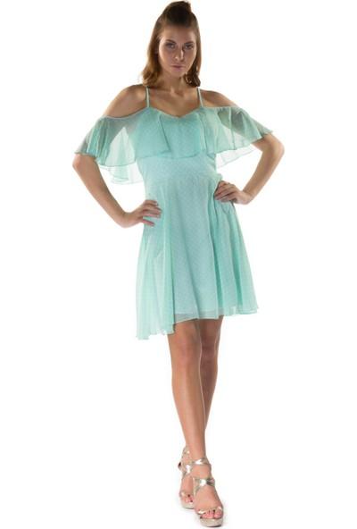 6ixty8ight Puantiye Mint Volanlı Askılı Kısa Abiye Elbise