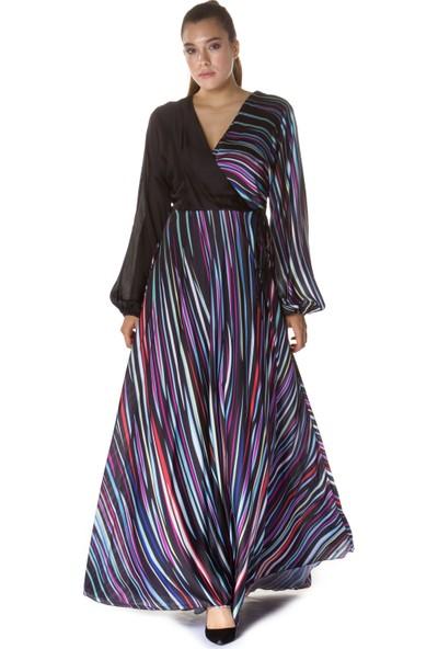 6ixty8ight Siyah Çizgili Uzun Kollu Abiye Elbise