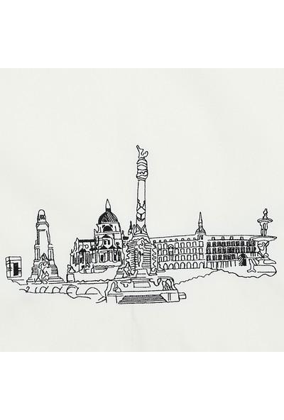 Bez Omuz Çantası Nakışlı Madrid Krem