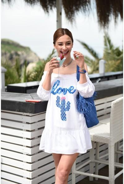 My Summer Blue Love Cactus Elbise