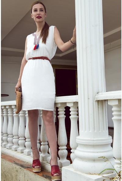 My Summer Blue Viskon Dokuma Beyaz Elbise