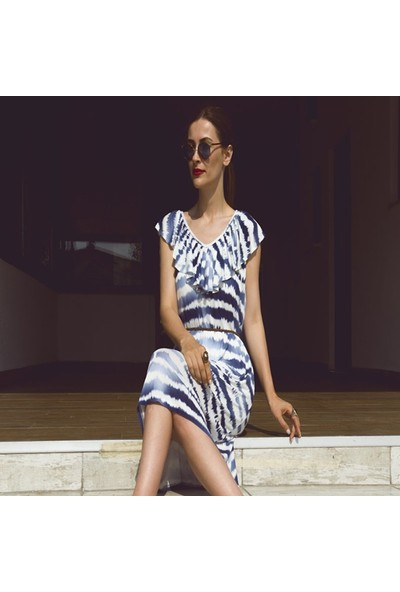 My Summer Blue Batik Viskon Elbise