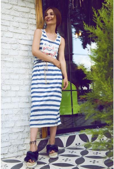 My Summer Blue Mavi Çizgili Elbise