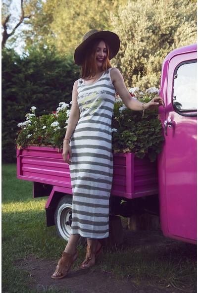 My Summer Blue Haki Çizgili Elbise