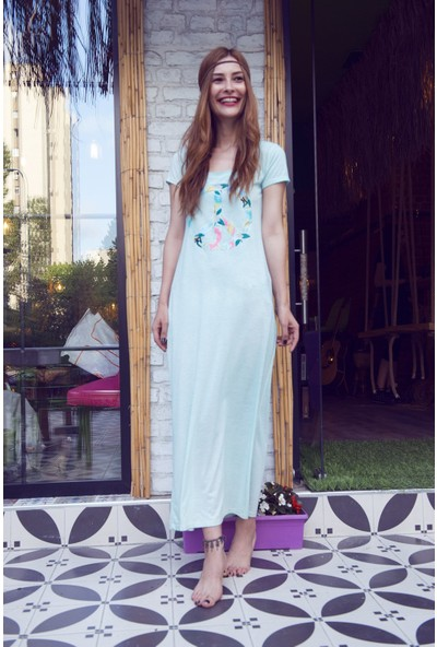 My Summer Blue Viskon Peace Elbise