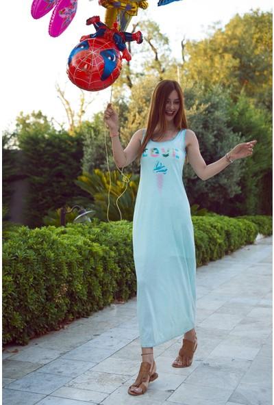 My Summer Blue Love Viskon Elbise