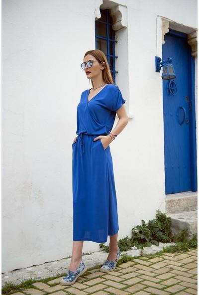 My Summer Blue Saks Elbise