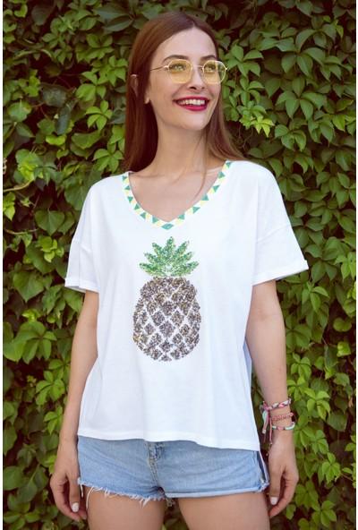 My Summer Blue Yeşil Ananaslı T-Shirt