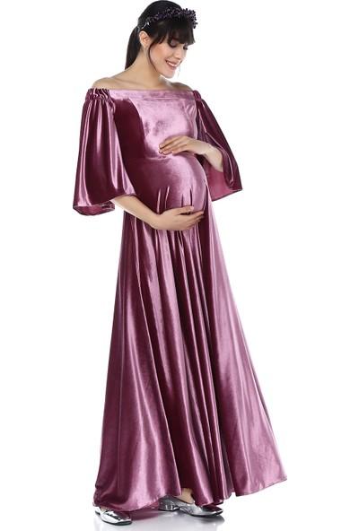 Moda Labio - Babyshower Düşük Omuz Kadife Hamile Elbisesi