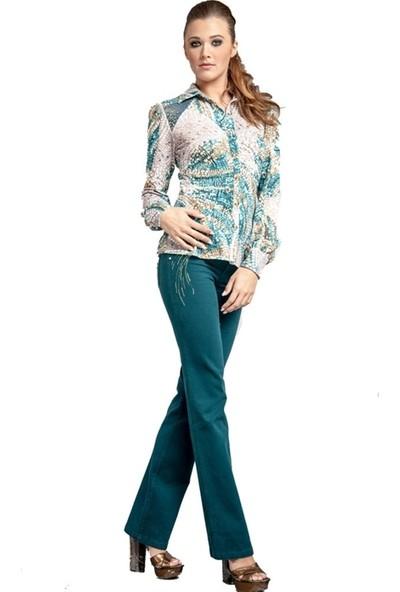 Dodona 1380 Zircon Taşlı Şık Boru Paça Kışlık Pantolon