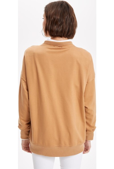 Defacto Kadın Baskılı Relax Fit Uzun Kollu Tunik