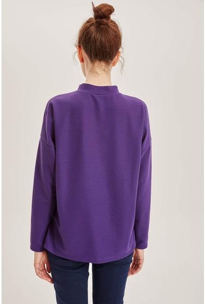 Defacto Kadın Dik Yakalı Uzun Kollu T-Shirt