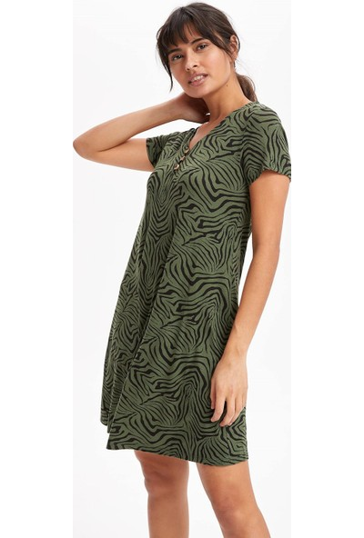 Defacto Kadın Tek Düğmeli Desenli Elbise