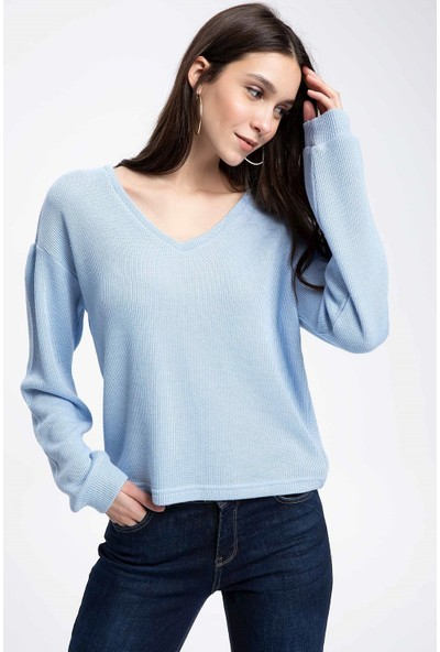 Defacto Kadın V Yaka Uzun Kollu T-Shirt