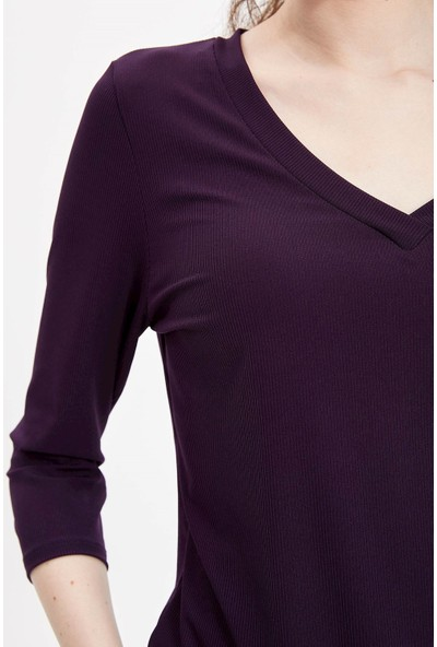 Defacto Kadın V Yakalı 3/4 Kollu T-Shirt