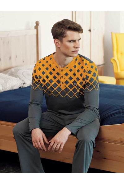 Şahinler Erkek Sarı Baskılı Düğmeli Pijama Takımı MEP24514-2