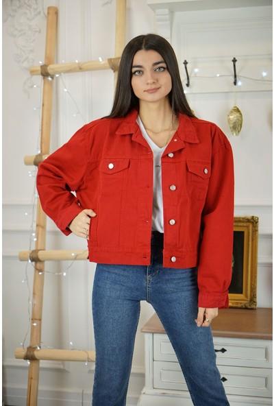 Bade Butik Kırmızı Parça Boyalı Denim Ceket