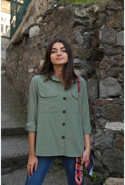 Bade Butik Yeşil Düğmeli Tok Gömlek Ceket