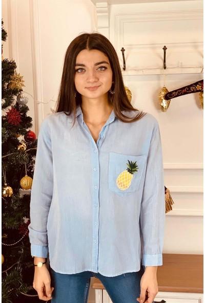 Bade Butik Mavi Ananaslı Yumuşacık Gömlek