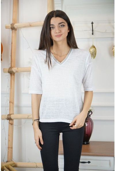 Bade Butik Yakası Simli Beyaz Bluz