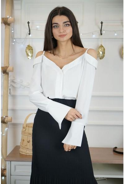 Bade Butik Beyaz Askılı Omuz Detaylı Gömlek
