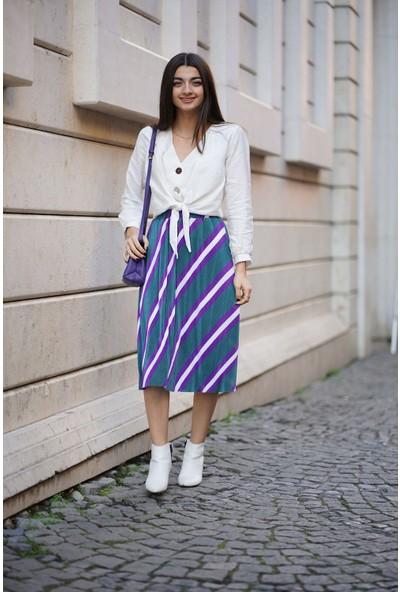 Bsl Fashion Yeşil Mena Etek