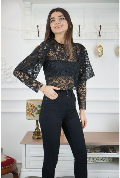 Wom Chery Siyah Dantel Özel Gün Bluz