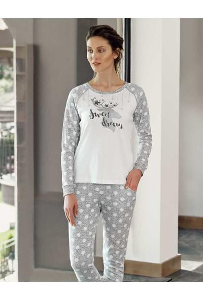 Şahinler Kadın Beyaz Geyik Baskılı Bayan Pijama Takımı MBP24306-1