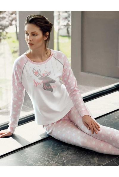 Şahinler Kadın Pembe Geyik Baskılı Bayan Pijama Takımı MBP24306-2