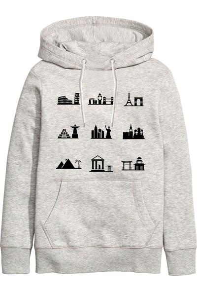 Art T-Shirt Minimal Cities icon Kapüşonlu Sweatshirt