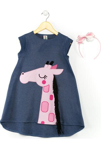 Denokids Pembe Zürafa Elbise+Saç Bandı