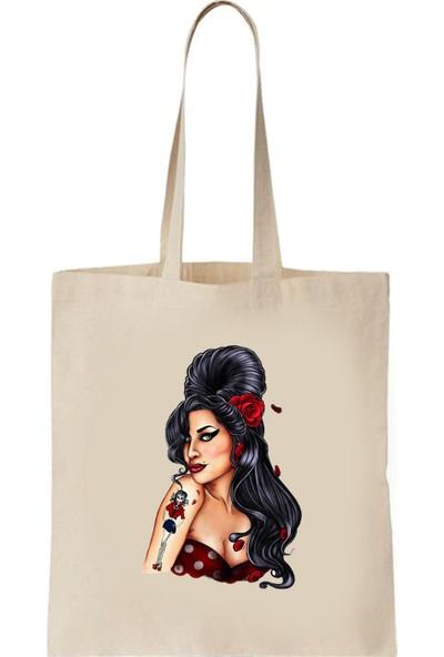 Art T-Shirt Amy Winehouse Baskılı Bez Çanta