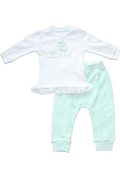 Biricik's Love Kalp Nakışlı 2li Kız Bebek Takım-Mint