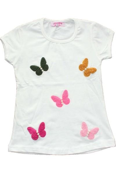 Biricik's İncili Kabartma Kelebekli Kız Çocuk Tshirt-Ekru