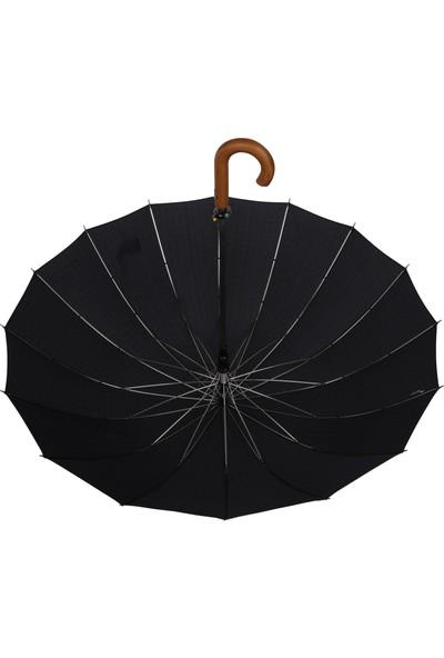 Snotline 16 Telli Desenli Baston Şemsiye Gri 41G