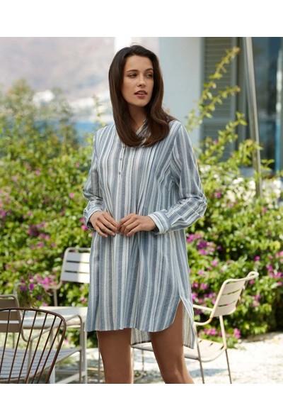 Penye Mood 8510 Kadın Düğme Detaylı Uzun Kollu Elbise