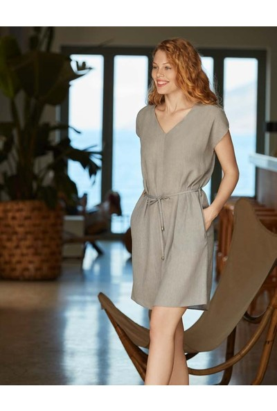 Penye Mood 8518 Kadın Kısa Kol V Yaka Elbise