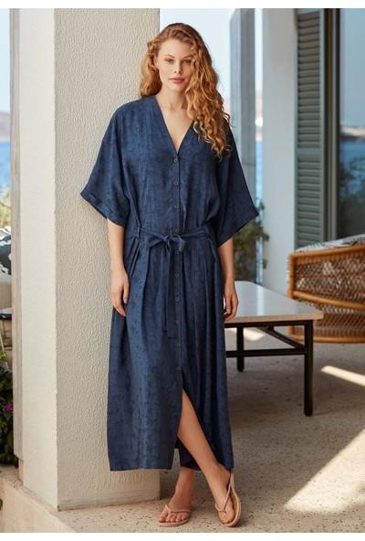 Penye Mood 8527 Kadın Önden Düğme Detaylı Elbise