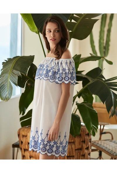 Penye Mood 8544 Kadın Omuz Detaylı Elbise