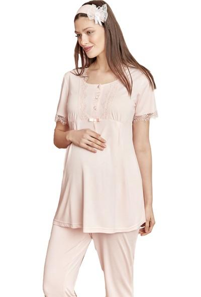 Şık Mecit 5008 File Sabahlıklı Hamile Lohusa Pijama Takımı